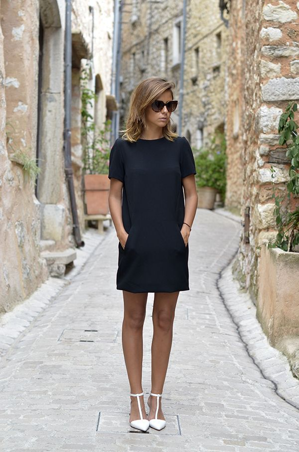 elegant look - black dress & white pumps