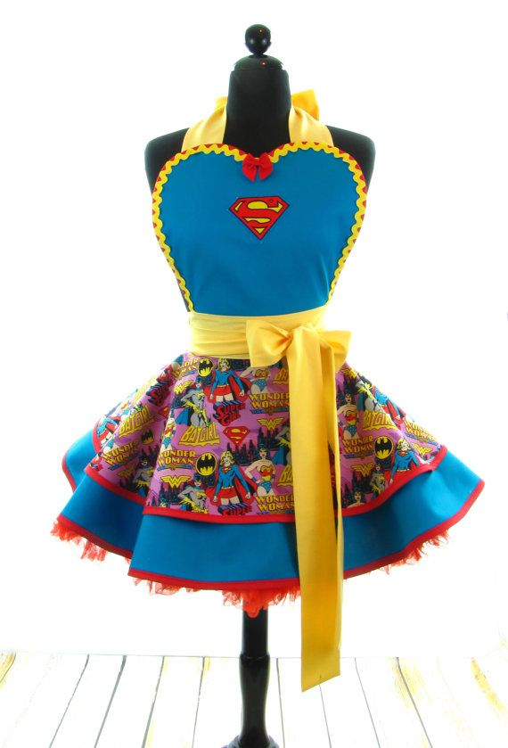 Retro Apron - SuperWoman Sexy Womans Aprons - Vintage Apron Style - Superwoman Pin up Pink Rockabilly Cosplay Lolita via Etsy
