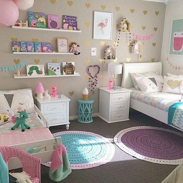 Shared Bedroom Design Idea For Kids Creative Wall Floating Shelves For Kids Book Display Decoracion Girl Bedroom Decor Shared Girls Room Cool Girl Bedrooms