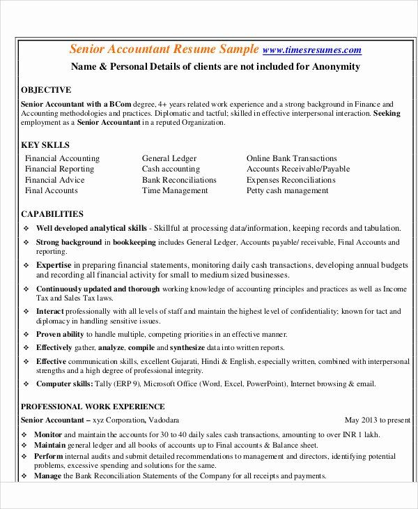 Senior Accountant Resume Sample Fresh 30 Accountant Resume Templates Pdf Doc In 2020 Accountant Resume Resume Resume Template Professional