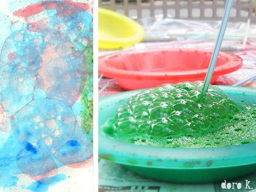 #Kunst mit Kindern: Seifenblasen auf Papier #kid's art: bubble art