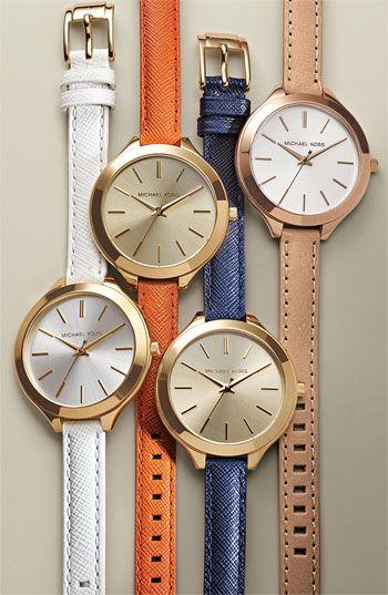 Michael Kors Slim Runway Leather Strap Watch.
