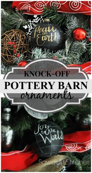 DIY Pottery Barn knock-off ornaments for $1.00!  www.sawdust2stitches.com