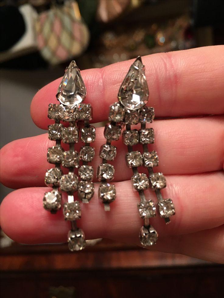 Gorgeous rhinestone drop earrings.  Clip on.  Value Village .