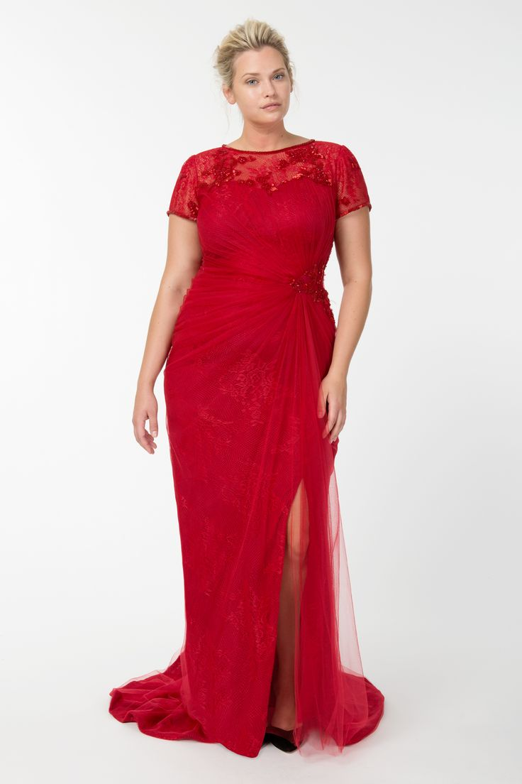 Beaded Lace and Tulle Draped Boatneck Gown in Carmine | Tadashi Shoji Fall / Holiday Plus Size Collection