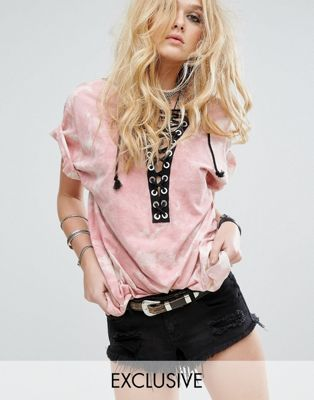 Reclaimed Vintage Inspired Oversized T-Shirt With Lace Up Front In Tie-Dye