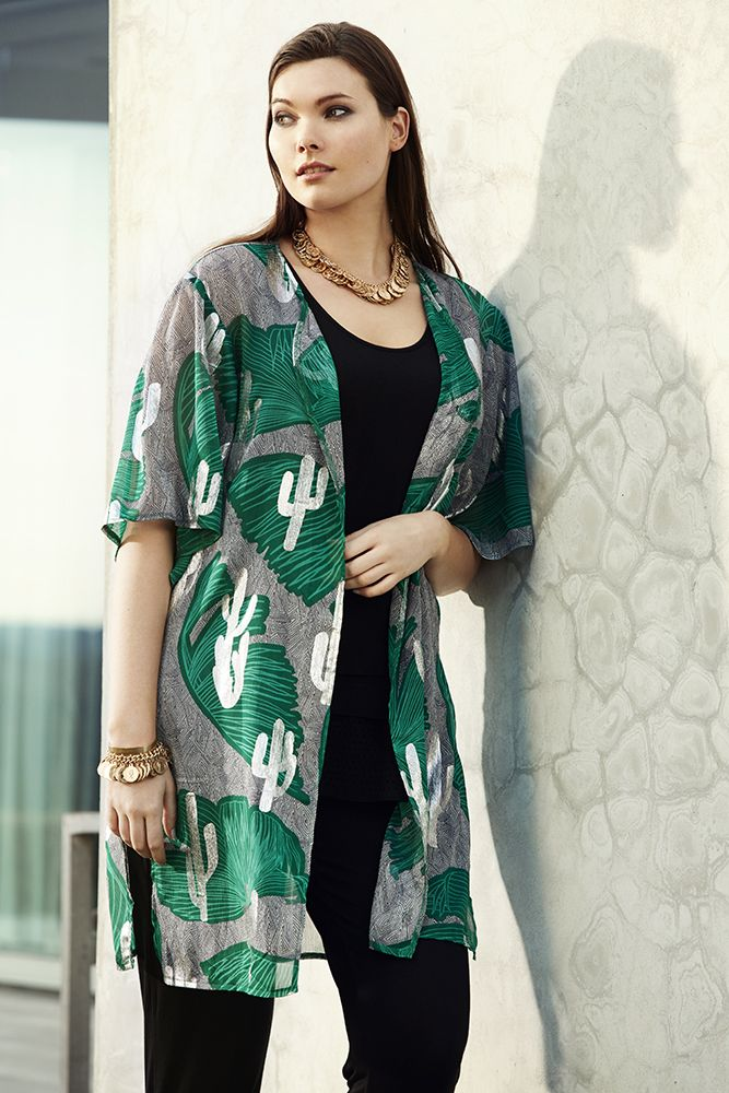 K&K plus size curvy fashion. Cactus print kimono can be worn over swimwear at the beach or dress it up for a statement evening look.