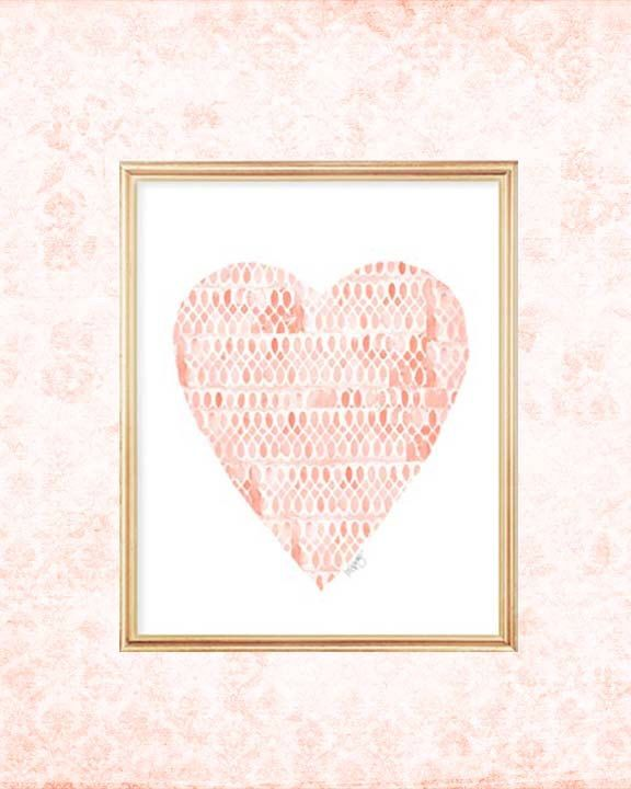 Coral Heart, Coral Baby Nursery, Watercolor Heart, Coral Nursery Art, Peach Nursery Decor, Nursery Print, Coral Baby Shower, New Baby Gift by OutsideInArtStudio on Etsy https://www.etsy.com/listing/224995420/coral-heart-coral-baby-nursery