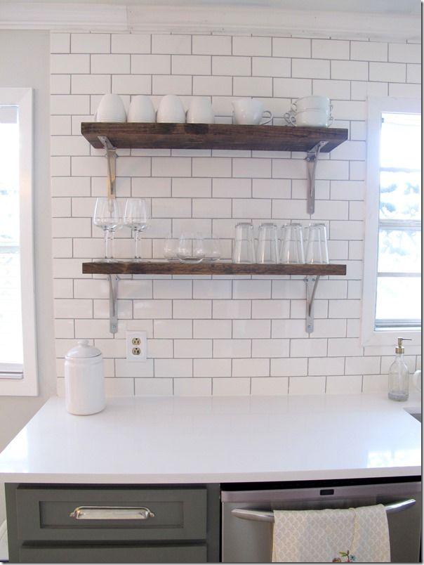 Open shelves, DIY, kitchen, subway tile, white quartz, grey cabinets