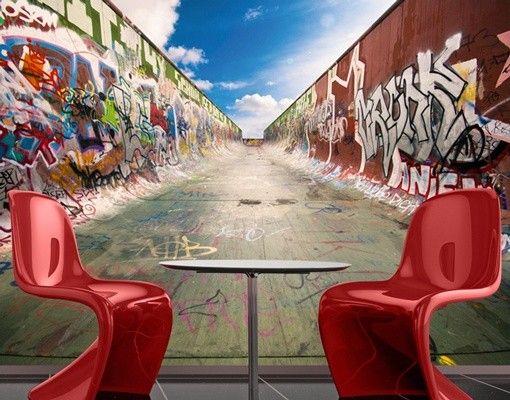 Graffiti Half Pipe fotobehang bij Behangwebshop