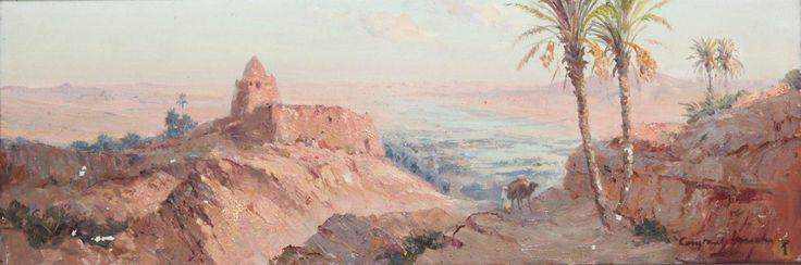 """LOUCHE CONSTANT (1880-1965)  FIGUIG-BENI-OUNIF Huile sur toile, signée """"Constant Louche"""" en bas à droite Inscrit au dos du chassis: """"Figuig Beni Ounif"""" Algérie - Artprecium - 29/04/2015"""