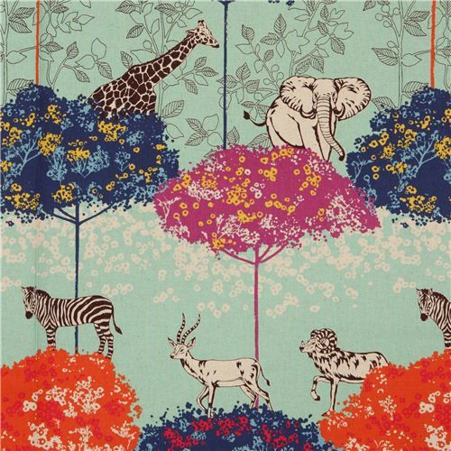 turquoise echino canvas safari animals fabric acacia 1
