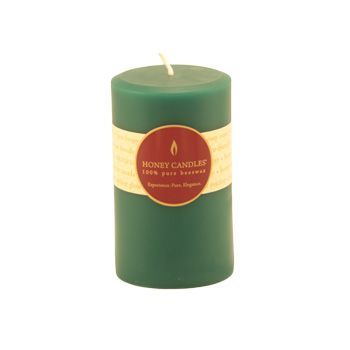 Burn Time: 55-65 Hours  Handmade with 100% pure Canadian beeswax and lightly colored with toxin-free dye, you'll love the long-lasting, warm glow and scent of Honey Candles® Mountain Jade 5x3 Round Pillar.