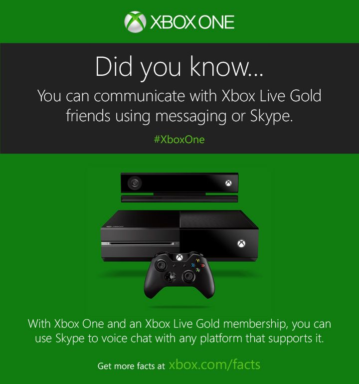 Be heard (or read, or seen) on your terms with Xbox One.  http://www.xbox.com/xbox-one/get-the-facts