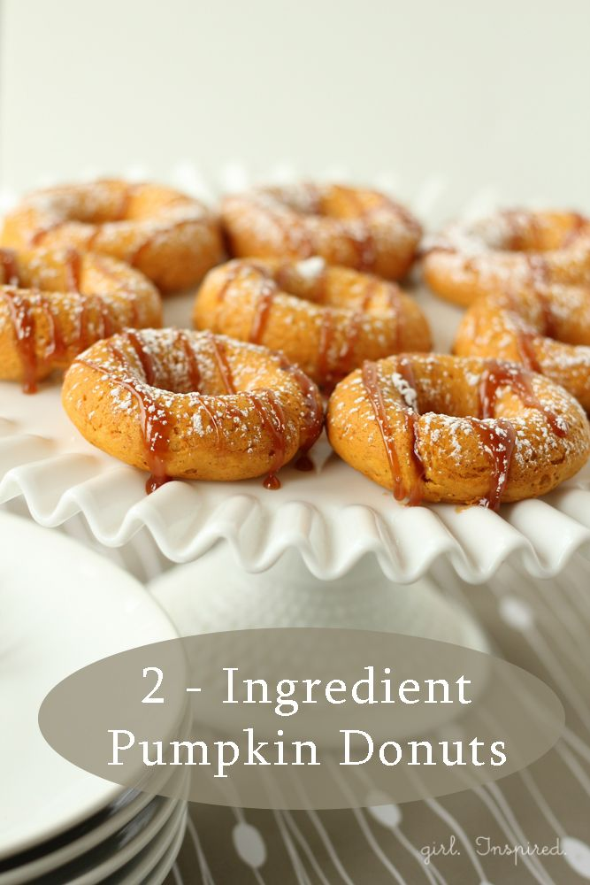 Two Ingredient Pumpkin Donuts - this will work with gluten free cake mix too. pureed pumpkin + cake mix