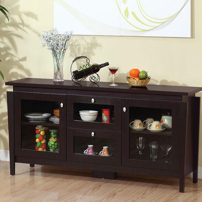 Furniture Light Laminate Wood Flooring Modern Dark Kitchen Buffet With Glass Doors Flower Vase Beige Accent Wall Main Functions Of