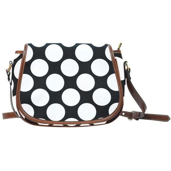 Black White Polka Dots Saddle Bag/Small (Model 1649) Full... ($32) ❤ liked on Polyvore featuring bags, handbags, shoulder bags, black white handbag, white and black handbags, black and white shoulder bag, saddle bags and black and white polka dot handbag