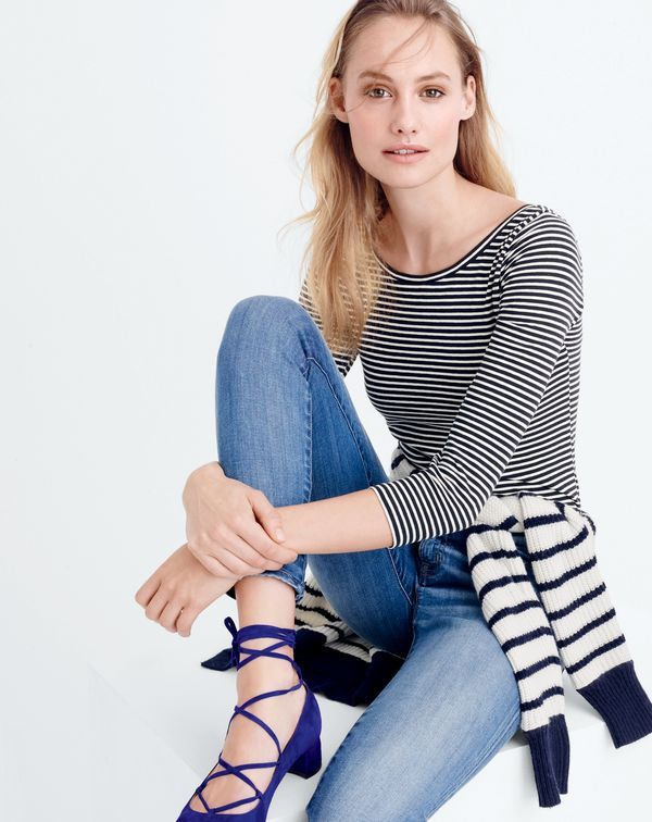 Introducing the J.Crew women's three-quarter sleeve ballet T-shirt. The ballet tee you loved for summer and fall, now with longer sleeves and a scoop in the back.