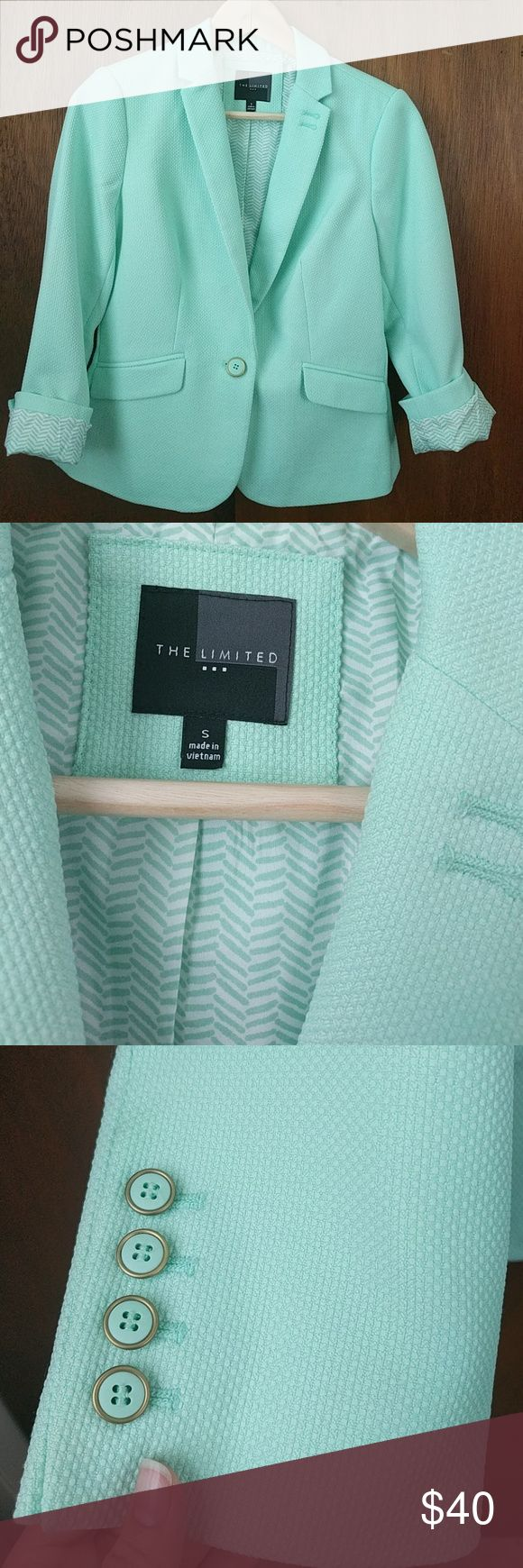 The Limited Mint Green Blazer The Limited Mint Green Blazer. Super cute on with printed lining. Like new condition, only worn a couple of times // Comes from a smoke-free and pet-free home.   ?? Bundles welcomed ?? Offers welcomed through the offer button The Limited Jackets & Coats Blazers
