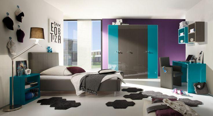 Jugendzimmer Tapeten T?rkis : Schlafzimmer Jugendzimmer anthrazit / t?rkis Hochglanz Lack Italien