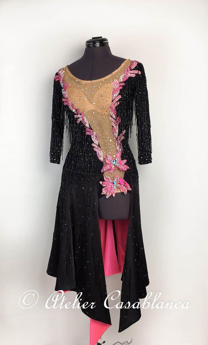 LK-AAG9 竹ビーズフリンジびっしりの黒&ピンクの長袖のラテンドレス(ロング、9号) | Atelier Casablanca -ダンスドレスの部屋- - 楽天ブログ