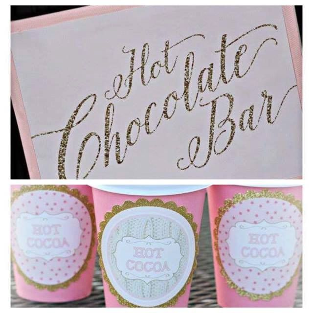Girl Winter ONEderland/ Winter Wonderland 1st Birthday Party Hot Chocolate Bar Sign and Cups.  Set of 20.  Pink/ gold / sweater / hot cocoa by CharmingTouchParties on Etsy