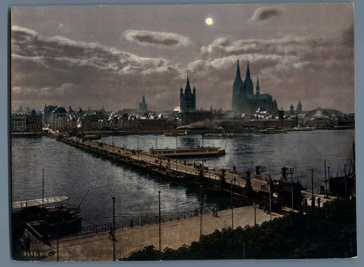 Köln am Rhein. Gesamtansicht mit Mondbeleuchtung.     #Europe #Allemagne_Deutschland #Cologne_Köln