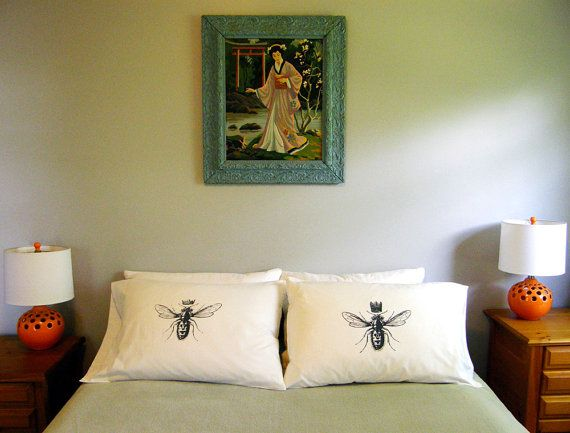 His and Hers King & Queen Bee Standard Pillow Case Set, Bridal Shower Gift, Anniversary Gift, Wedding Gift, Hand Printed Soft Cotton,300TC on Etsy, $38.00