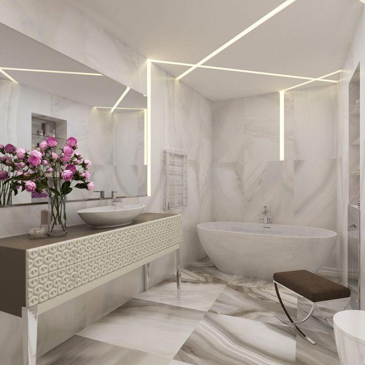 Изящная ванна из литьевого мрамора, отделка из натурального камня создают атмосферу благородной роскоши.