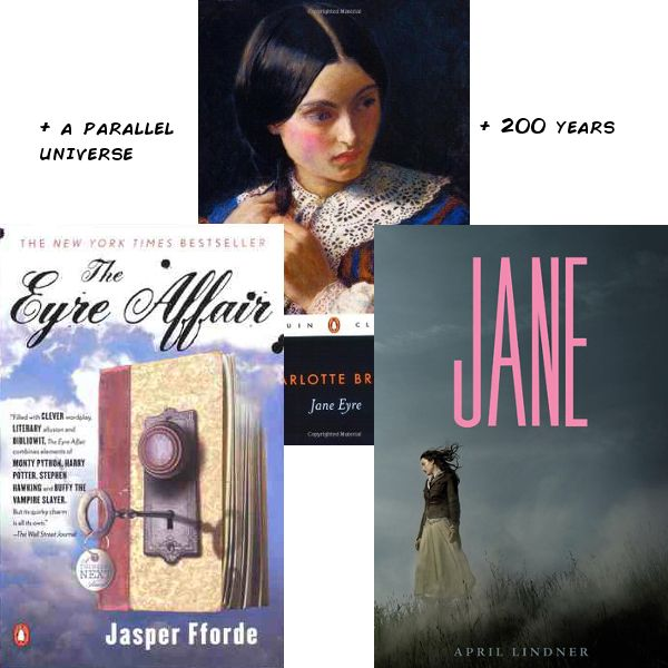 JANE EYRE + a parallel universe = THE EYRE AFFAIR. JANE EYRE + 200 years = JANE.