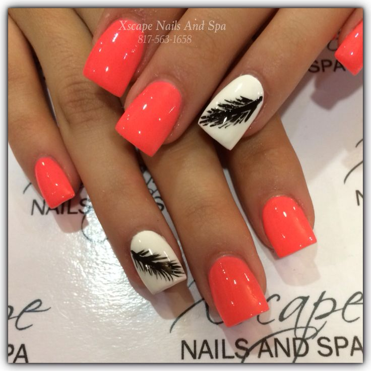 Feather nail design/ cute nail designs