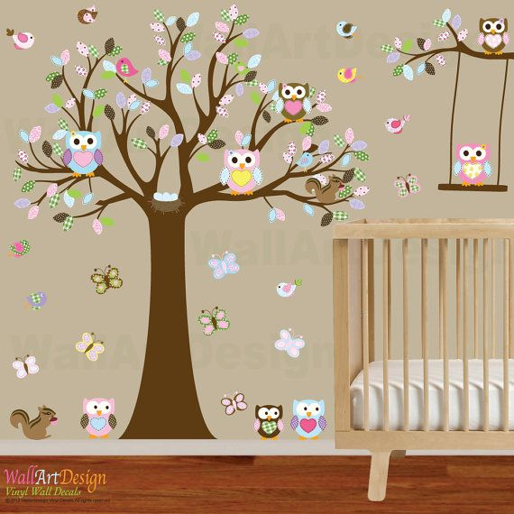Vinyl Wall Owl Tree Decal Nursery Stickers By Wallartdesign 135 00