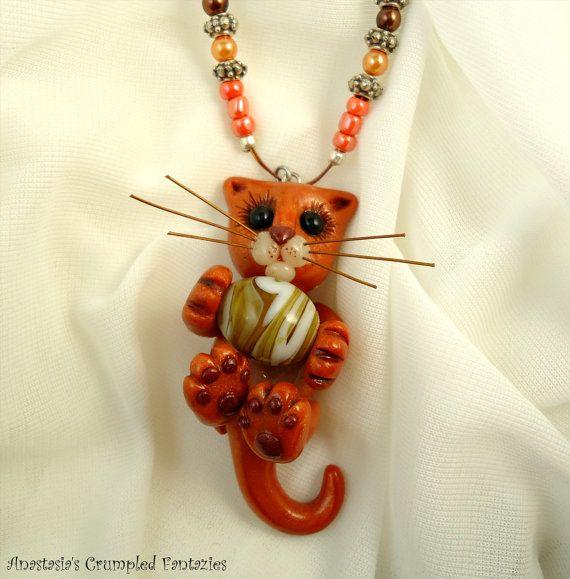 Cute orange cat pendant Polymer clay kitty by CrumpledFantazies