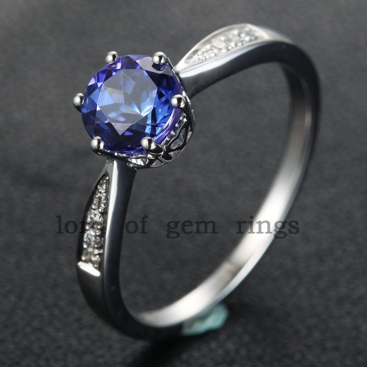 $339 Round Tanzanite Engagement Ring Pave VS Diamond Wedding 14K White Gold 7mm
