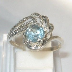 Swirl Sterling Silver Ring 8US Blue Topaz 0.7 carat