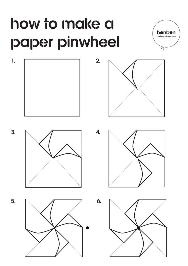 Bonbon Balloons DYI guide on 'How to make an origami pinwheel'