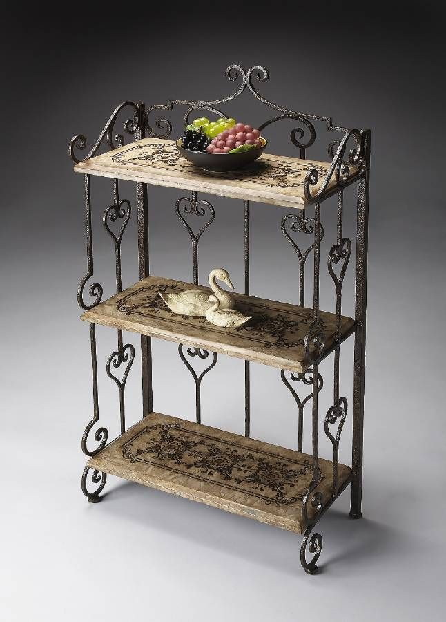 Butler-Tuscan Wrought Iron & Stone 3 Shelf Display Etagere at Cheapchicdecor.com