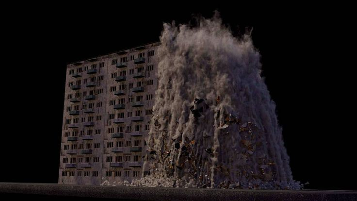 Houdini destruction.#houdinifx#3dmax#c4d#render#rendering#3d#cg#vfx#modeling#vsco#simulation#destruction#fracture#bfstudio#collapsed#collapse#house#smoke#CG by bf.studio