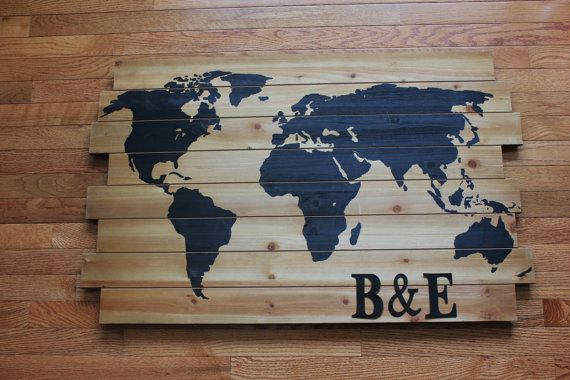 Personalized WOOD WORLD MAP Wooden Map of World Globe Outline For Travel Theme Wedding Alternative Guestbook Signing Guest Book Pallet Black