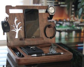Anniversary gift Iphone wooden Docking Station by LovelyLadyCat