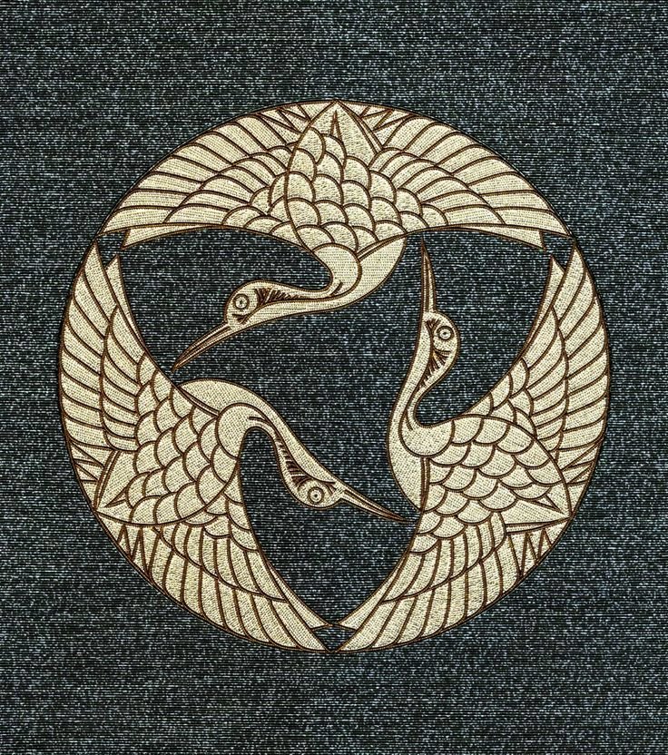 Tsurumon - Three cranes Mizuhiki kamon / family crest