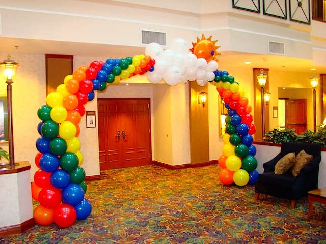 Rainbow balloon arch holly 39 s 6th bday pinterest for How to make a rainbow arch