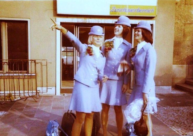 Pan Am stewardesses at THF, with Gisela Dietz-Mey (Gisela Rustemeyer) and Pamela Dorey... — with Gisela Dietz-Mey at Flughafen Tempelhof.