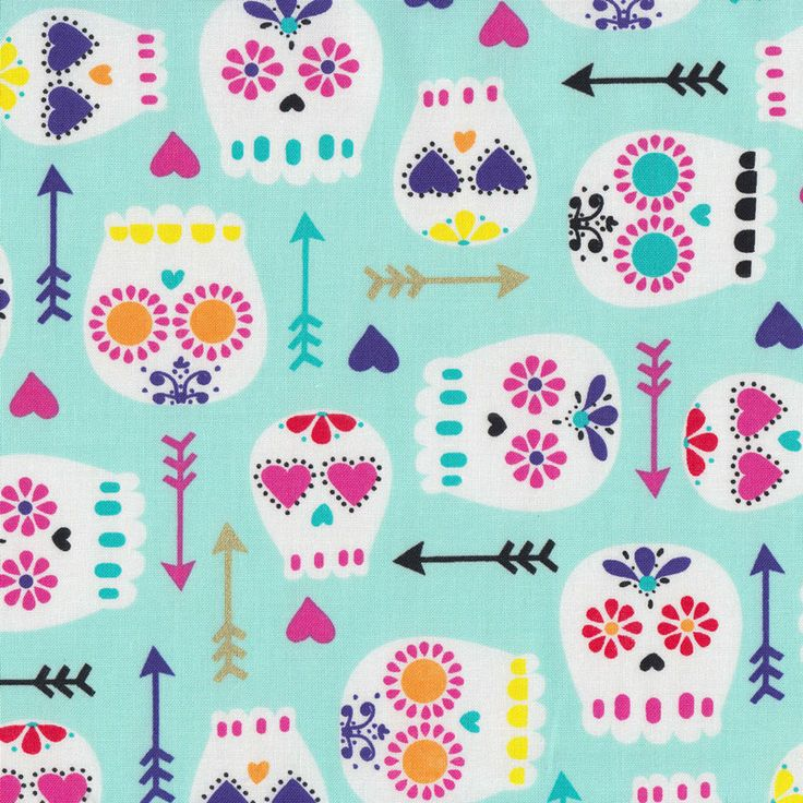 Modern Sugar Skulls With Arrows Quilt Fabric - Find a Fabric - Available to purchase in Fat Quarters, Half Metre, 3/4 Metre, 1 Metre and so on.