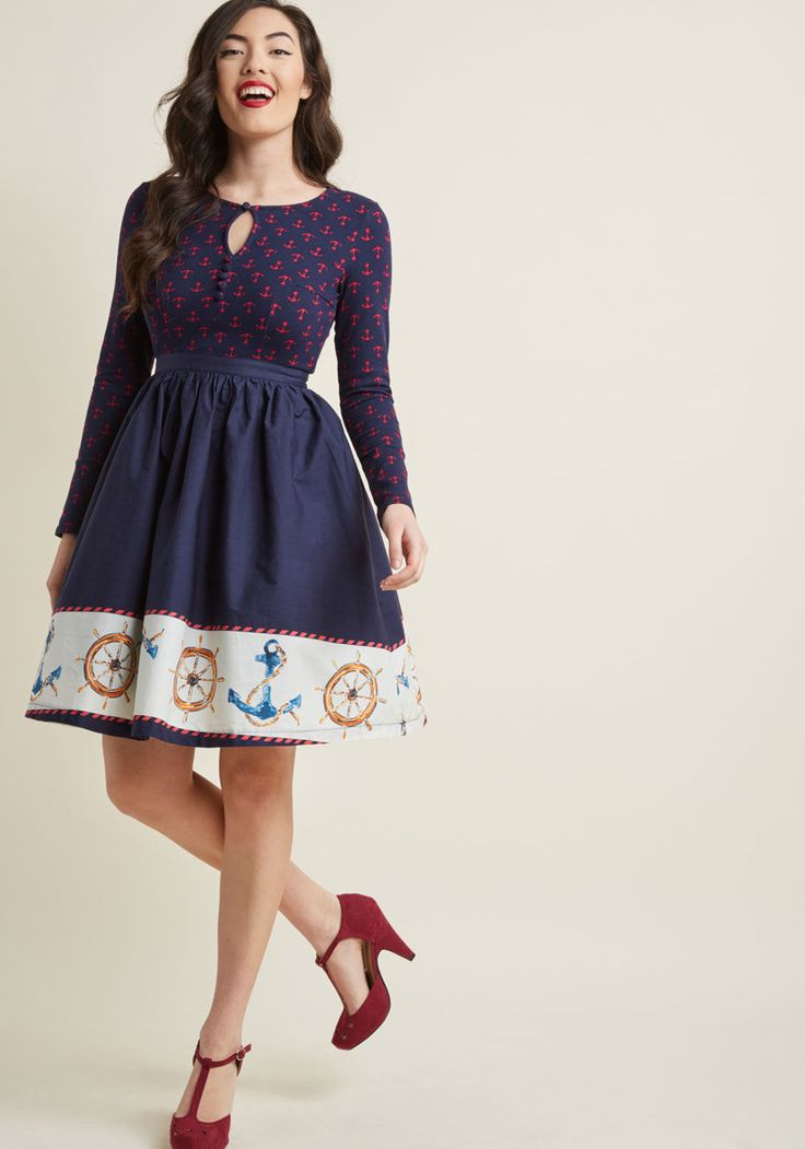 Twofer Long Sleeve Dress in Nautical   ModCloth