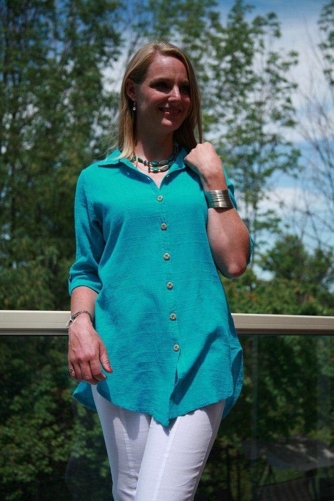 3/4 Sleeve Dotty Gauze Cotton Mieke Shirt in Teal