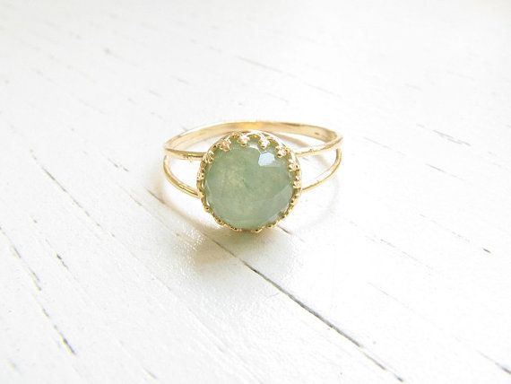 Gold Jade Ring 14k genuine faceted jade gemstone ||