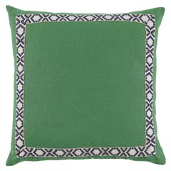 """Lacefield's Camden throw pillow lends simple sophistication with a touch of geometric interest to sofas and beds. Off-white tape enlivens this Kelly green linen cushion with navy blue Southwestern-inspired embroidery. 24""""W x 24""""H. 100% Linen. Solid linen back. 95% Feather/5% Down. Made in the USA."""