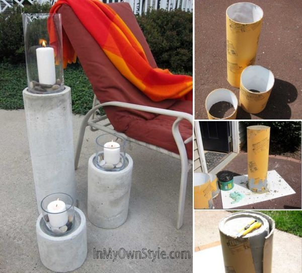 34 Cool and Modern DIY Concrete Projects; house number, candle holders/pilars, lamp shade, bookend. Good tutorial for the pictured project at: http://inmyownstyle.com/2011/08/how-to-make-a-restoration-hardware-concrete-fire-column.html  Gotta say...they look heavy as crap. Wonder if there is a good way to hollow them out but still have the same result - maybe like an tube in the tube?