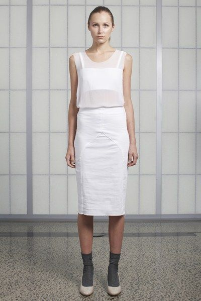 s/s 13/14 womens key looks - W02. silk tank in blanc, breastplate in white, tight skirt in white.